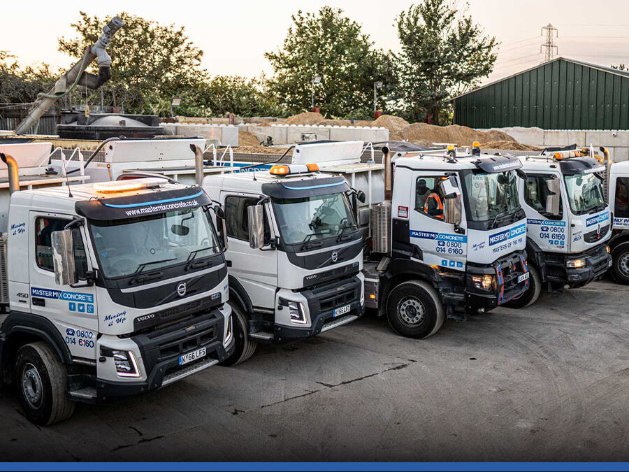 The Master Mix Concrete fleet of mixers lined up in Watford